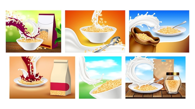 Oatmeal breakfast promotional posters set vector. collection of different creative advertising marketing banners with oatmeal cereal porridge, milk and kitchenware. color concept layout illustrations