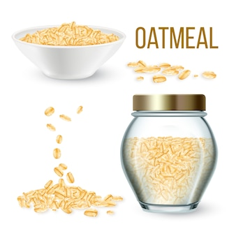Oatmeal cereal in bowl and bottle