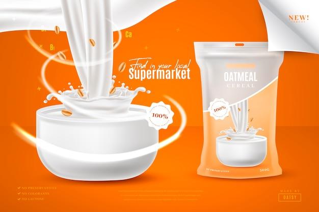 Annuncio di prodotto alimentare di cereali di farina d'avena