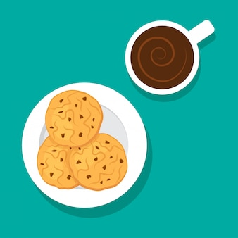 Oatmeal cookies and cup coffee.   illustration