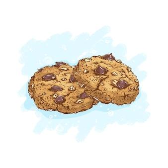 Овсяное печенье с шоколадными каплями и орехами. десерты и сладости. эскизный рисунок руки еды.