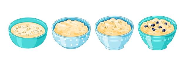Oatmeal porridge. plates of oats boiled porridge and healthy food. cooking oatmeal seeds bowl