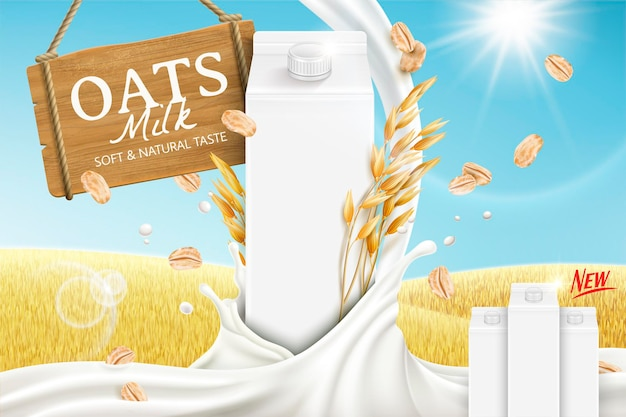 Oats milk banner with swirling liquid and blank carton box on golden grain field in 3d illustration