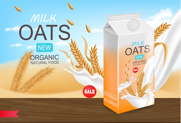 Oats milk realistic, organic milk, packaging , beautiful background, splash milk, new product