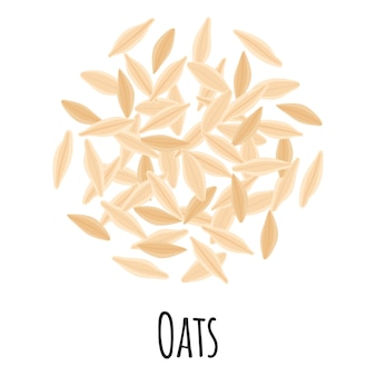 Oats for template farmer market design, label and packing. natural energy protein organic super food. vector cartoon isolated illustration.