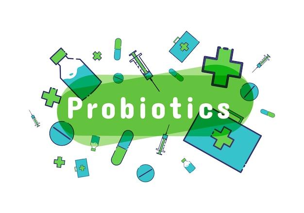プロバイオティクス細菌のロゴ。プレバイオティクス、乳酸oba菌アイコン。
