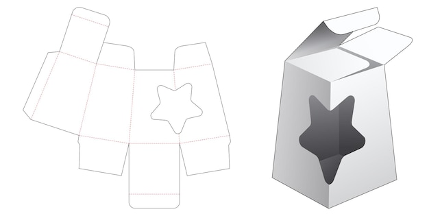 Obelisk packaging with star shaped window die cut templatestar shaped display tray die cut template