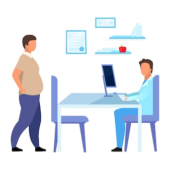 Obese man visiting dietitian flat illustration. overweight adult consulting nutritionist isolated cartoon characters on white background. male physician consulting patient with obesity