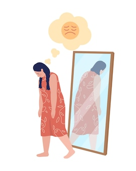 Obese teen sad girl semi flat color vector character. walking figure. full body person on white. teen problems isolated modern cartoon style illustration for graphic design and animation