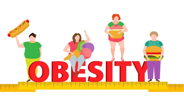 Obesity concept overweight people and unhealthy and sedentary lifestyle fast food
