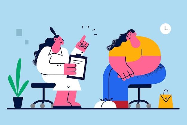 Концепция питания и потери веса ожирения Premium векторы