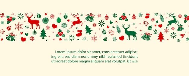 装飾植物とサンプルテキストのクリスマスのオブジェクトは、クリーム色の背景に分離します