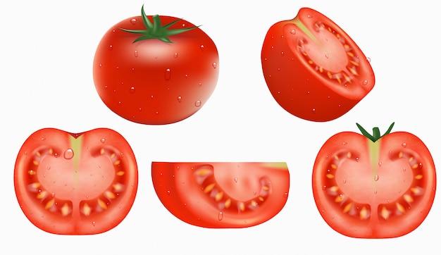 개체, 신선한 빨간 토마토 세트