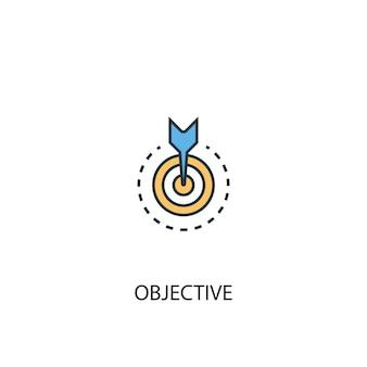 객관적인 개념 2 컬러 라인 아이콘입니다. 간단한 노란색과 파란색 요소 그림입니다. 객관적인 개념 개요 기호 디자인