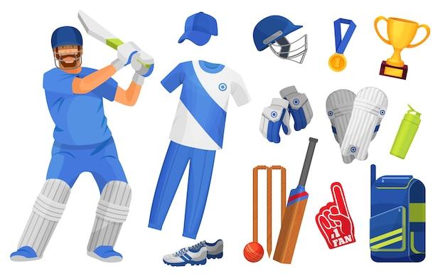 クリケットスポーツのオブジェクトとアクセサリー。