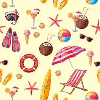 Objects for beach seamless pattern