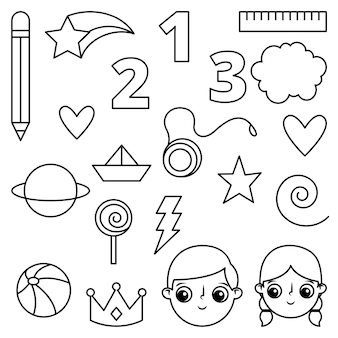 Objects of children cartoon for coloring book. icon lines. vector illustration