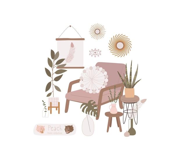 居心地の良い甘い家のためのオブジェクト。家の花や植物。ミニマリズム、プリミティヴィスム、抽象化。