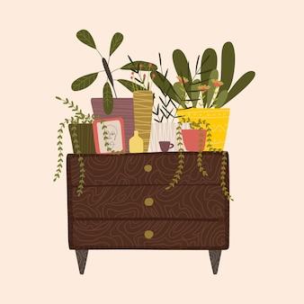 아늑한 스위트 홈을위한 물건. 집 꽃과 식물. 미니멀리즘, 원시주의, 추상화.