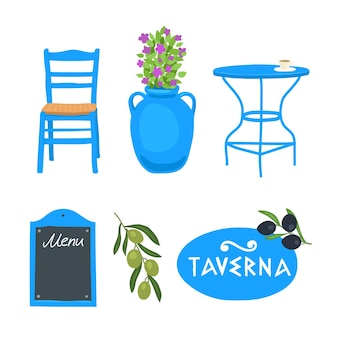 Objects of a greek tavern greece table chair signboard flowers in a pot olives olives set