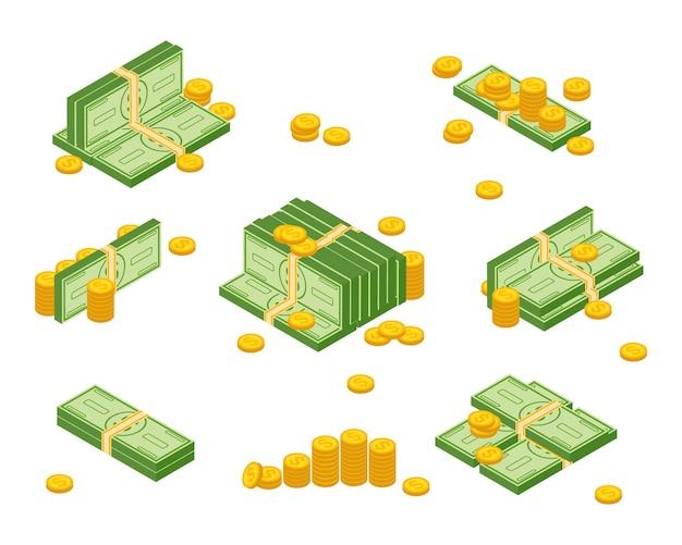 Объекты, изолированные на белом фоне. различные денежные купюры долларовые наличные бумажные банкноты и набор золотых монет. куча наличных денег, куча и иллюстрация денег стога.