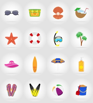Objects for recreation a beach flat icons.