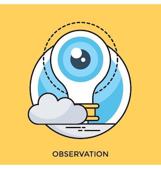 観測フラットベクトルアイコン