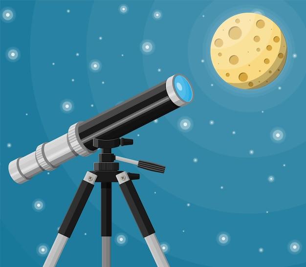 Наблюдение через подзорную трубу. пейзаж природы с телескопом, луной и звездами. астрономия, исследования, наблюдения и образование. векторная иллюстрация в плоском стиле