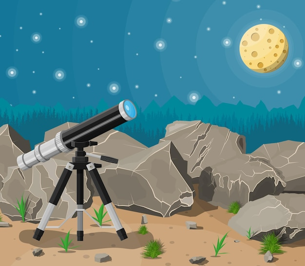 Observation through spyglass. nature mountain landscape with telescope, moon and stars