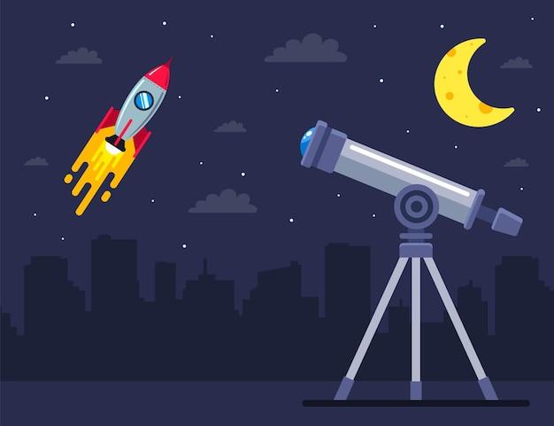 Наблюдайте за запуском космического корабля в телескоп. плоская иллюстрация.