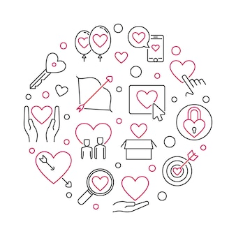 Obsessive love  round illustration in outline style