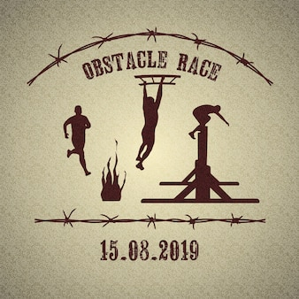 Obstacle race logo with athletic men