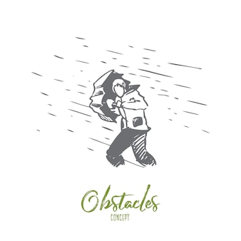 障害、困難、問題の概念。難しさの概念スケッチのシンボルとして傘と雨と手描きの男。