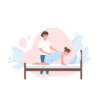 Obstetrician with woman flat color faceless character. alternative birth professional support. pregnancy help isolated cartoon illustration for web graphic design and animation