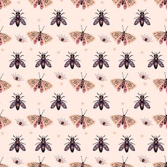 神秘的な蝶昆虫のシームレスパターン