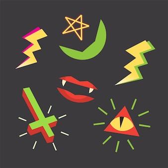 ハロウィーンのデザインのオカルトシンボルと画像