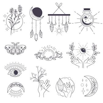 Оккультные символы и магические знаки, магия и колдовство. изолированные символы бохо