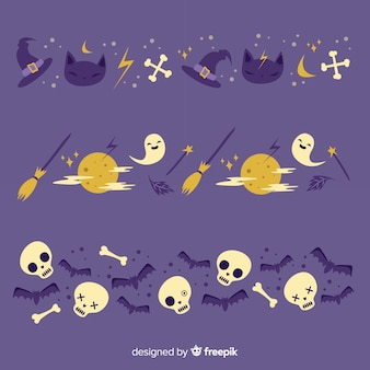 Occultist and full moon night halloween border