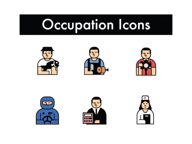 Occupation character set colored illustration vector