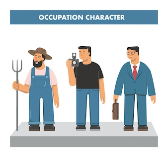 Occupation of farmer photographer and businessman character vector