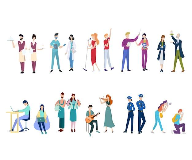 직업 세트. 다양한 제복을 입은 사람들 커플의 컬렉션입니다. 의사와 교사, 음악가.