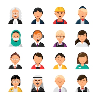 Occupations avatars. waiter stewardess judge advocate manager builder male and female profession  icons