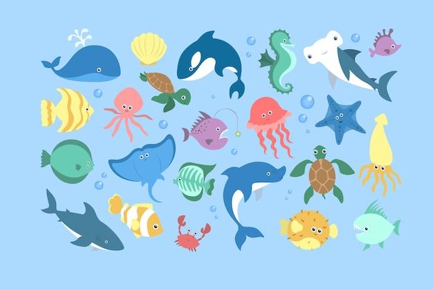 海と海の動物セット。水生生物のコレクション。カニと魚、かわいいタツノオトシゴとヒトデ。ウミガメ。図