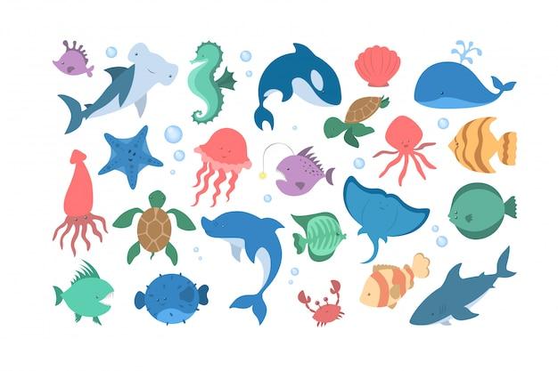 바다와 바다 동물 세트 수생 생물의 수집.
