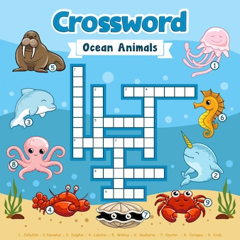 Ocean animals crossword underwater games