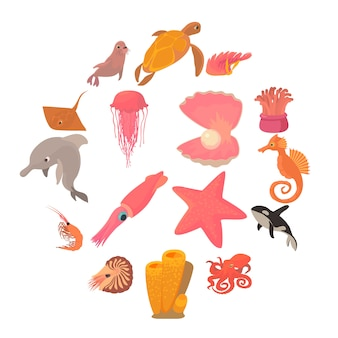 Ocean animals fauna icons set, cartoon style