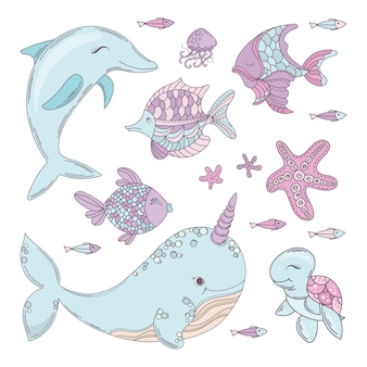 Ocean animals underwater sea cruise vector