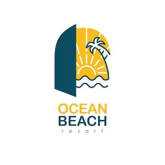 리조트의 오션 비치 로고. 야자수와 바다 로고. 럭셔리 여름 로고 템플릿 벡터입니다.