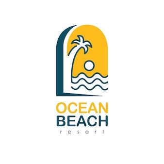 Ocean beach logo for resort. palm tree and sea logo. luxury summer logo template vector.