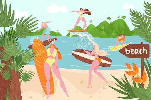 オーシャンビーチ、水中での夏のサーフィン、ベクトルイラスト。サーフボードでのフラットな女性男性キャラクター、海の波での休暇スポーツ活動。熱帯の自然で幸せなサーファー、若者は岸に立っています。